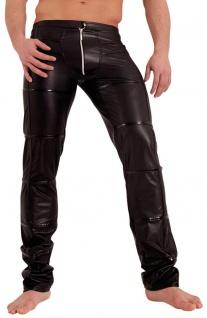 Noir Handmade - Rassige lange glänzende Wetlook Zip Hose schwarz