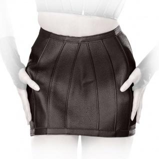 Ledapol - Rassiger Echt Leder Spanking Minirock mit Schnallen ouvert schwarz