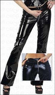 Sexy Lack Hose mit 2-Wege-Zip schwarz