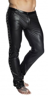 Noir Handmade - Stylische lange Wetlook Hose mit Ringen schwarz