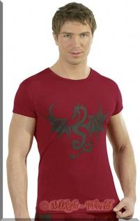 Knappes Dragon Shirt / Top rot-schwarz
