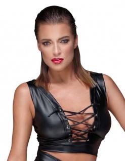 Noir Handmade - Heißes Wetlook Top mit Front-Schnürung schwarz