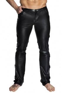 Noir Handmade - Lange glänzende Wetlook Hose mit Lack schwarz