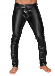 Noir Handmade - Lange glänzende Power-Wetlook Hose mit Lack schwarz