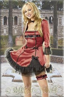 Rassiges Satin Mini Kleid rot-schwarz