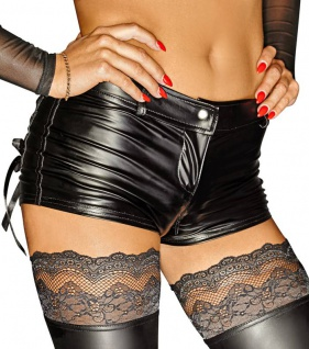 Noir Handmade - Ultraknappe Wetlook Hot Pants / Shorts mit Zip schwarz