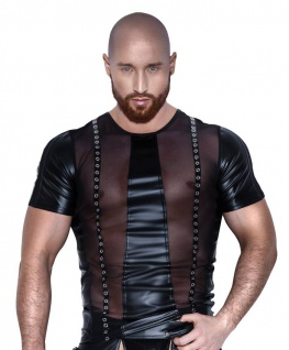 Noir Handmade - Heißes Wetlook Shirt mit Netz und Nieten schwarz