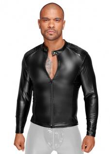 Noir Handmade - Langärmelige Power-Wetlook Zip-Jacke mit Lack schwarz