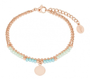 S.Oliver Damen Armband mit Glassteinen 2027602 IP Rose