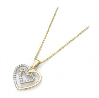 Collier 375 Gold mit Herz Anhänger 99012340450
