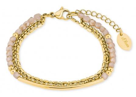 S.Oliver Damen Armband 2018358 IP Gold mit Schmuckperlen