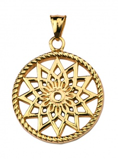Traumfänger Mandala Anhänger groß Gold