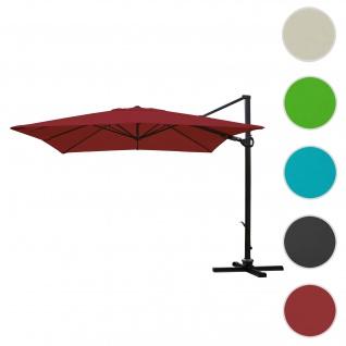 Gastronomie-Ampelschirm HWC-A39, 3x3m (Ø4, 24m) schwenkbar drehbar, Polyester/Alu 31kg ~ bordeaux ohne Ständer