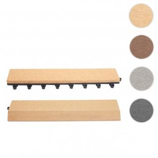 2x Abschlussleiste für WPC Bodenfliese Rhone, Abschlussprofil, Holzoptik Balkon/Terrasse ~ teak gerade mit Haken