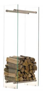 Kaminholzständer CP317, Feuerholzregal, Klarglas ~ 35x60x150cm