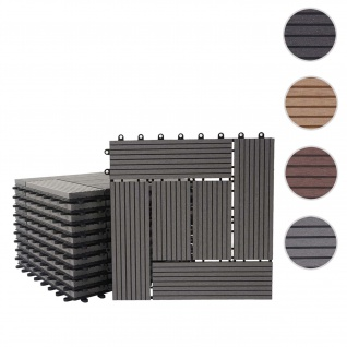 WPC Bodenfliese Rhone, Holzoptik Balkon/Terrasse, 11x je 30x30cm = 1qm ~ Premium, grau versetzt