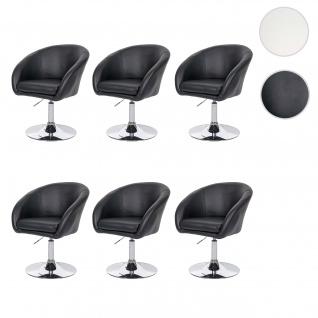 6x Esszimmerstuhl HWC-F19, Drehstuhl Loungesessel, höhenverstellbar Kunstleder schwarz