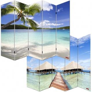Foto-Paravent Paravent Raumteiler Spanische Wand M68, 5 Panels ~ 180x200cm, Strand