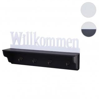 Wandgarderobe HWC-D41 Willkommen, Garderobe Regal, 4 Haken massiv 30x60x13cm ~ schwarz/weiß
