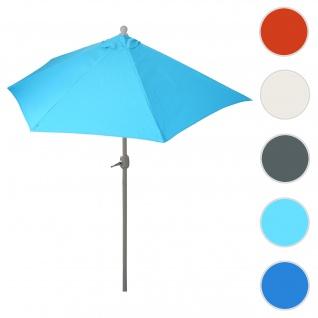 Sonnenschirm halbrund Parla, Halbschirm Balkonschirm, UV 50+ Polyester/Stahl 3kg ~ 270cm türkis ohne Ständer