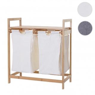 Wäschesammler HWC-B83, Laundry Wäschesortierer Wäschekorb Wäschebehälter, Bambus 2 Fächer 74x64x33cm 70l ~ weiß