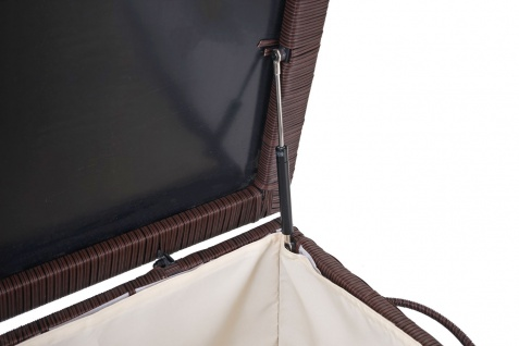 Poly-Rattan Kissenbox HWC-D88, Gartentruhe Auflagenbox Truhe ~ Premium braun, 80x160x94cm 950l - Vorschau 5