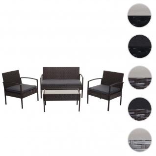 Poly-Rattan Garnitur HWC-F56, Balkon-/Garten-/Lounge-Set Sitzgruppe ~ braun, Kissen dunkelgrau