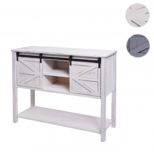 Kommode HWC-D57, Schiebetürenschrank Sideboard Schrank, Shabby-Look Vintage 81x102x34cm ~ weiß