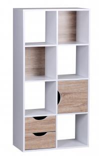 Bücherregal A103, Regal Wohnregal, 2 Schubladen 1 Tür, 120x60x29cm