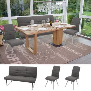 Set 2x Esszimmerstuhl+Sitzbank HWC-G55, Bank Küchenstuhl Stuhl, Stoff/Textil Edelstahl ~ grau-braun Bank 160cm