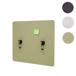Akustik-Tischtrennwand HWC-G75, Büro-Sichtschutz Schreibtisch Pinnwand, doppelwandig Stoff/Textil ~ 65x60cm grün