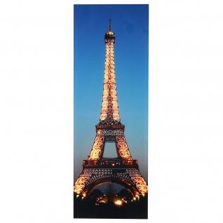 LED-Bild, Leinwandbild Leuchtbild Wandbild, Timer ~ 100x35cm Eifelturm, flackernd