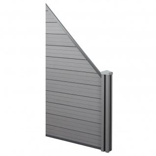 WPC-Sichtschutz Sarthe, Windschutz Zaun, WPC-Pfosten ~ Erweiterungselement schräg rechts, 0, 98m grau