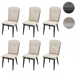 6x Esszimmerstuhl HWC-G42, Stuhl Küchenstuhl Lehnstuhl ~ Kunstleder, creme-grau
