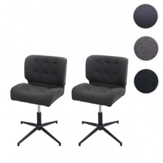 2x Esszimmerstuhl HWC-H42, Drehstuhl Küchenstuhl, höhenverstellbar drehbar ~ Stoff/Textil dunkelgrau, Fuß schwarz