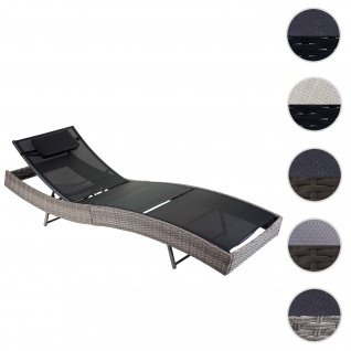 Sonnenliege Savannah, Relaxliege Gartenliege Liege, Poly-Rattan ~ grau, Bezug schwarz