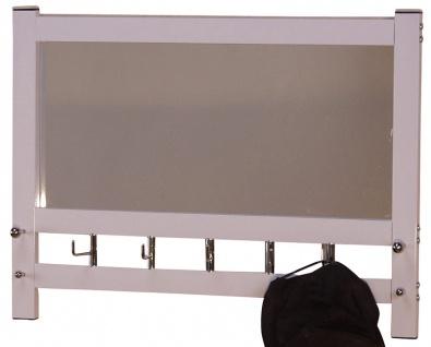 Wandgarderobe mit Spiegel H74, Wandspiegel Spiegel Garderobe, 50x69x9cm ~ weiß