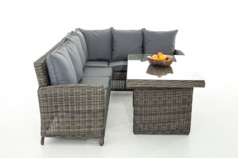 Sofa-Garnitur CP056, Lounge-Set Gartengarnitur, Poly-Rattan ~ Kissen eisengrau, grau-meliert