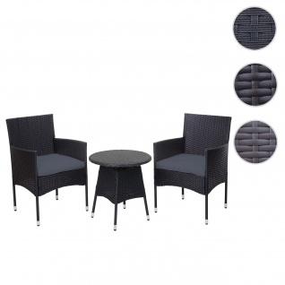 Poly-Rattan Balkonset HWC-G27, Sitzgarnitur Gartengarnitur, 2xSessel+Tisch ~ anthrazit, Kissen grau