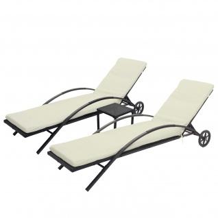2x Sonnenliege HWC-E27, Relaxliege Gartenliege, Poly-Rattan ~ schwarz, Kissen creme-beige - Vorschau 2