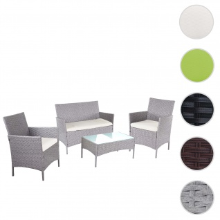 2-1-1 Poly-Rattan Garten-Garnitur Halden, Sitzgruppe Lounge-Set Sofa ~ grau, Kissen creme
