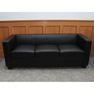 3er Sofa Couch Loungesofa Lille, Leder ~ schwarz