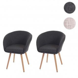 2x Esszimmerstuhl Malmö T633, Stuhl Küchenstuhl, Retro 50er Jahre Design Textil, grau