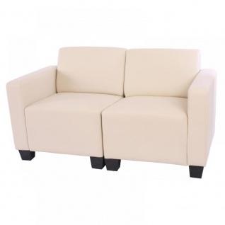 Modular Zweisitzer Sofa Couch Lyon, Kunstleder creme