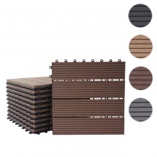 WPC Bodenfliese Rhone, Holzoptik Balkon/Terrasse, 11x je 30x30cm = 1qm ~ Premium, coffee linear