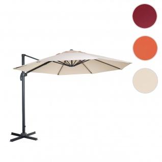 Gastronomie-Ampelschirm HWC-A96, Sonnenschirm, rund Ø 3m Polyester Alu/Stahl 23kg ~ creme ohne Ständer, drehbar
