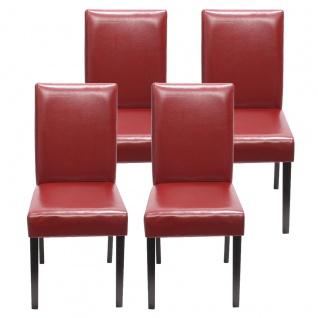 4x Esszimmerstuhl Stuhl Küchenstuhl Littau ~ Kunstleder, rot dunkle Beine