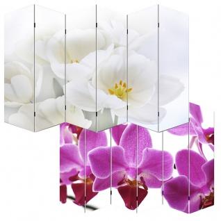 Foto-Paravent Paravent Raumteiler Spanische Wand M68, 6 Panels ~ 180x240cm, Orchidee