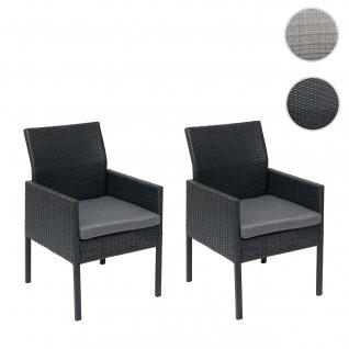2x Poly-Rattan Sessel HWC-G12, Gartenstuhl Korbsessel ~ schwarz, Kissen dunkelgrau, Standard-Version