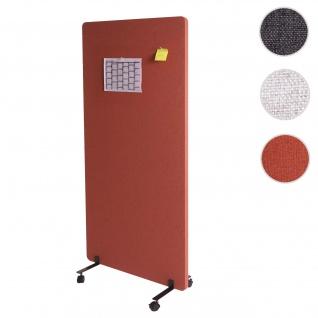 Akustik-Trennwand HWC-G77, Büro-Sichtschutz Raumteiler Pinnwand, doppelwandig rollbar Stoff/Textil ~ 167x80cm braun